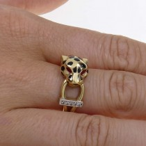 Set for woman - ring and earrings - panther head, yellow gold and zirconium