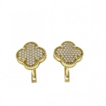 Set for women - ring and earrings, yellow gold and zirconium