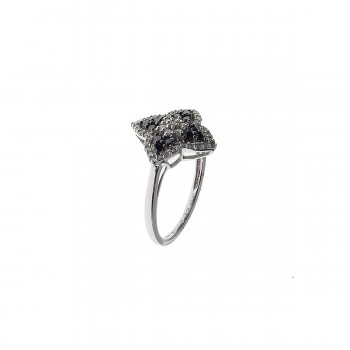 Set for woman - ring and earrings, black and white diamonds
