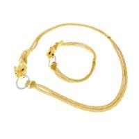 Набор для женщины - кольцо и серьги - голова пантеры, желтое золото и цирконий
