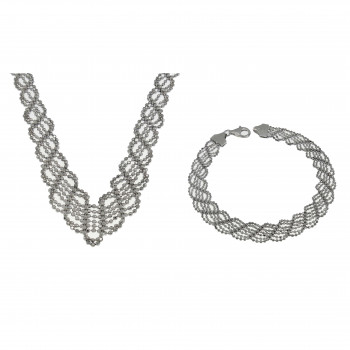 Набор для женщины - колье и браслет, белое золото 14 карат