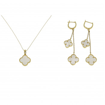 Set for women - chain and earrings, yellow gold and white onyx