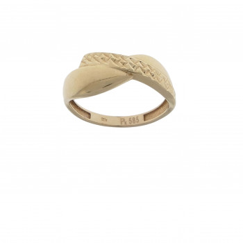 Set for women - ring and earrings, 14k red gold
