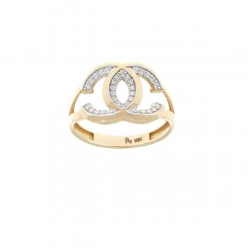 Set for women - ring and earrings, red gold with zirconium