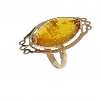 Set for women - ring and earrings with amber, 14k red gold