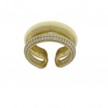 Набор для женщины - кольцо и серьги, желтое золото 14 карат с цирконием
