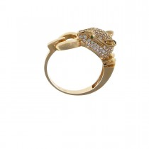 Set for women - ring and earrings, panther head, red gold and zirconium