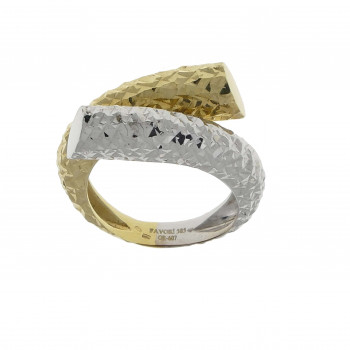 Set for women - ring and earrings, 14K yellow and white gold