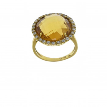 Set for women - ring and earrings with citrine, 14K yellow gold