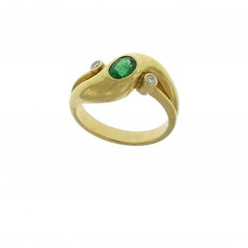 Набор для женщины - кольцо и серьги, желтое золото 14 карат с бриллиантами и изумрудами