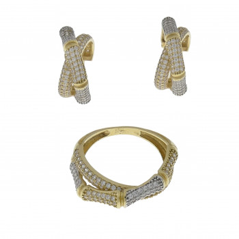 Set for women - ring and earrings, 14K yellow gold with cubic zirconia