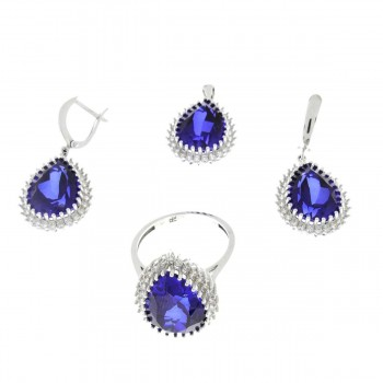 Set for a woman with sapphires - pendant, earrings, ring. White gold