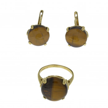 Set for women - ring and earrings, 14K yellow gold