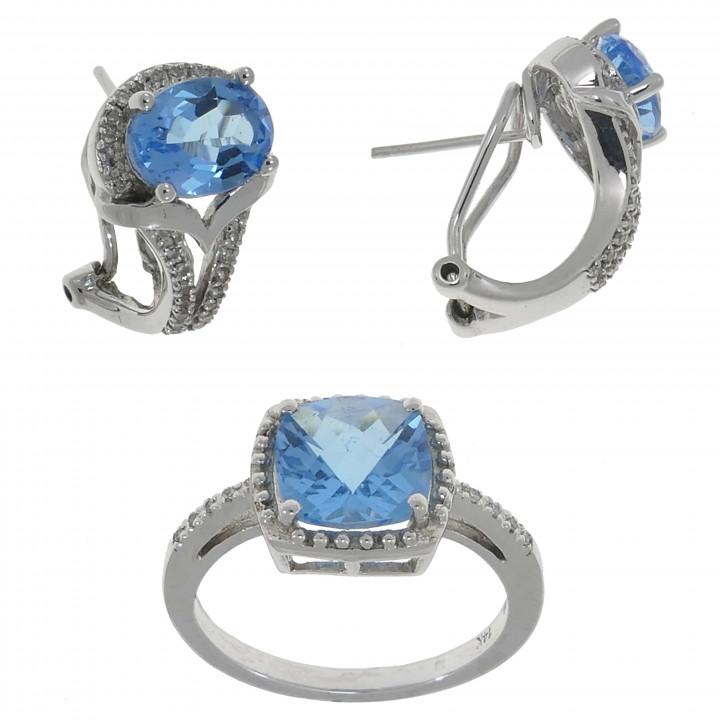 Кольцо и серьги с топазом и бриллиантами