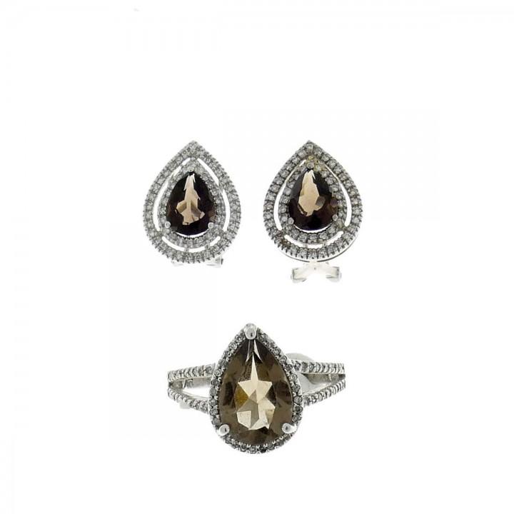 סט לאישה - טבעת ועגילים, זהב לבן עם יהלומים וטופז