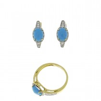 Set for women - ring and earrings yellow gold with diamonds and turquoise