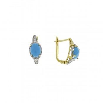 Набор для женщины - кольцо и серьги, желтое золото с бриллиантами и бирюзой