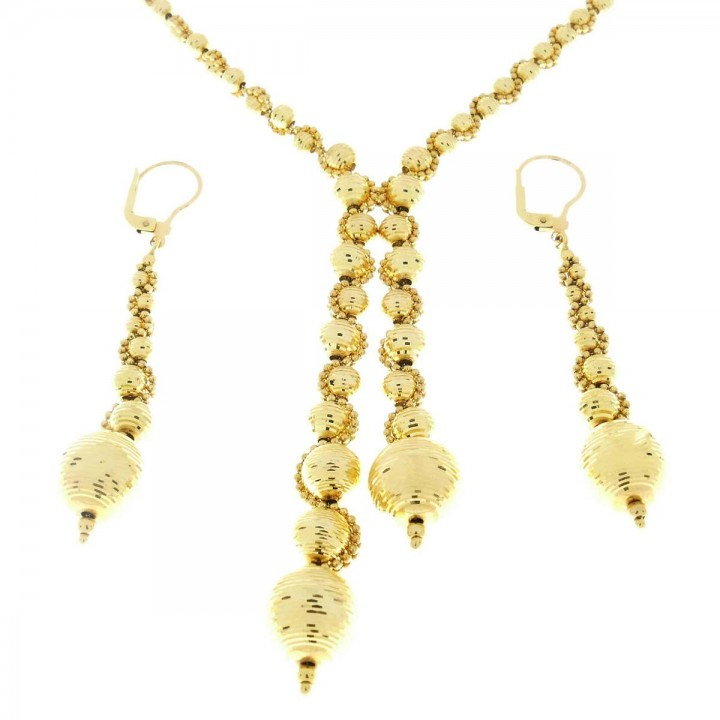 Set for women - chain and earrings, yellow gold