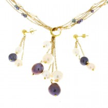 Set for women - chain and earrings, yellow gold, pearls