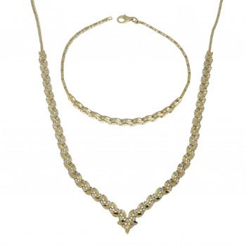 Набор для женщины - колье и браслет, желтое золото 14 карат с цирконием