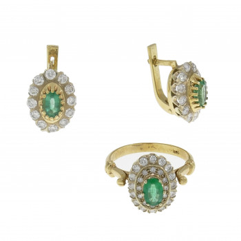 Set for women - ring and earrings, 14K yellow gold, diamonds and emeralds