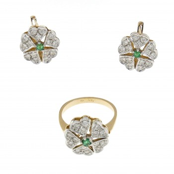 Women's set - ring and earrings, 14K yellow gold, diamonds and emeralds