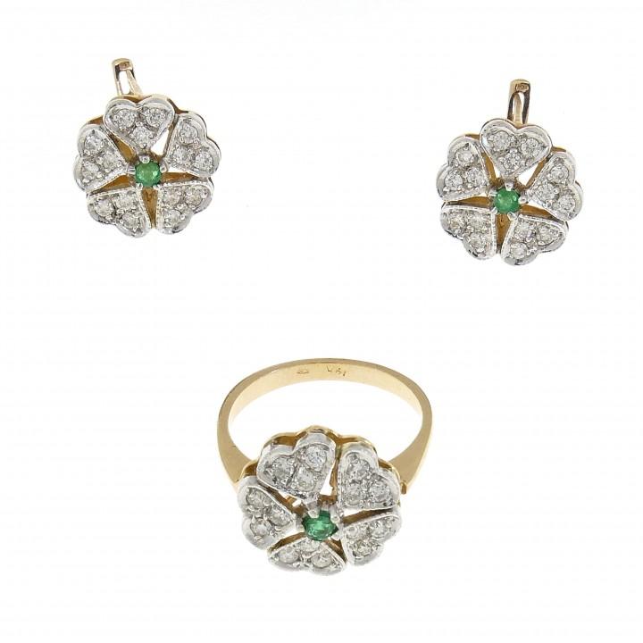 Набор для женщины - кольцо и серьги, жёлтое золото 14 карат с бриллиантами и изумрудами