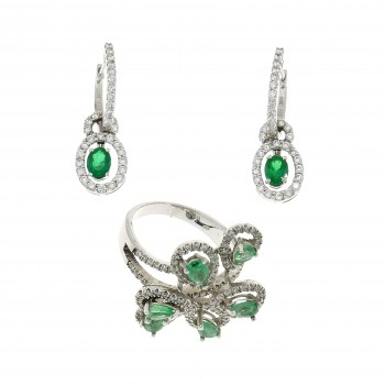 Seth for women - ring and earrings in 18K white gold, diamonds and emeralds