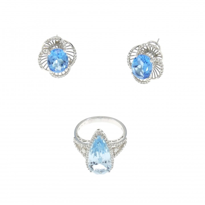 Set for a woman - 14K white gold with diamonds and blue topaz