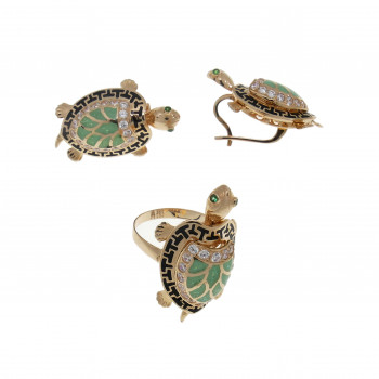 Set for a woman - turtles. Ring and earrings, 14K red gold