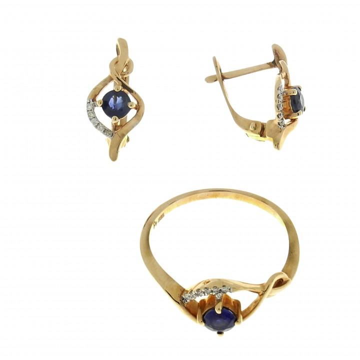 Кольцо и серьги с сапфирами и бриллиантами