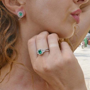 Set for women - ring and earrings, white gold with diamonds and emeralds
