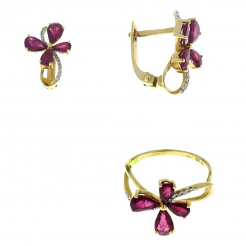 Set for women - ring and earrings, 14K yellow gold, diamonds and rubies