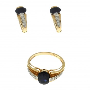 Seth for women - ring and earrings, 14K red gold, diamonds and sapphires