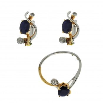 Seth for women - ring and earrings, 14K yellow and white gold with diamonds and sapphires