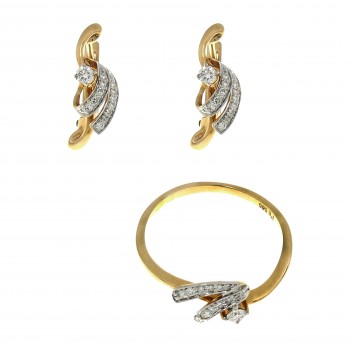 Seth for women - ring and earrings, 14K red gold with diamonds