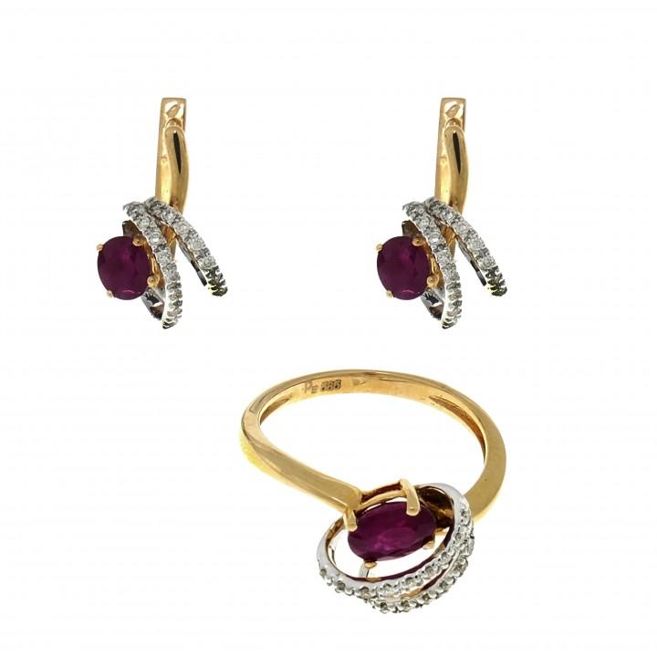 Кольцо и серьги с рубинами и бриллиантами
