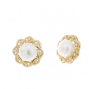 Set for women - ring and earrings, red gold and pearls