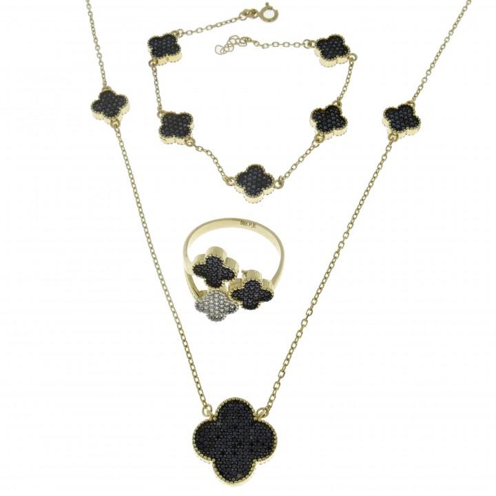 Набор для женщины - кольцо, цепочка, браслет, жёлтое золото 14 карат