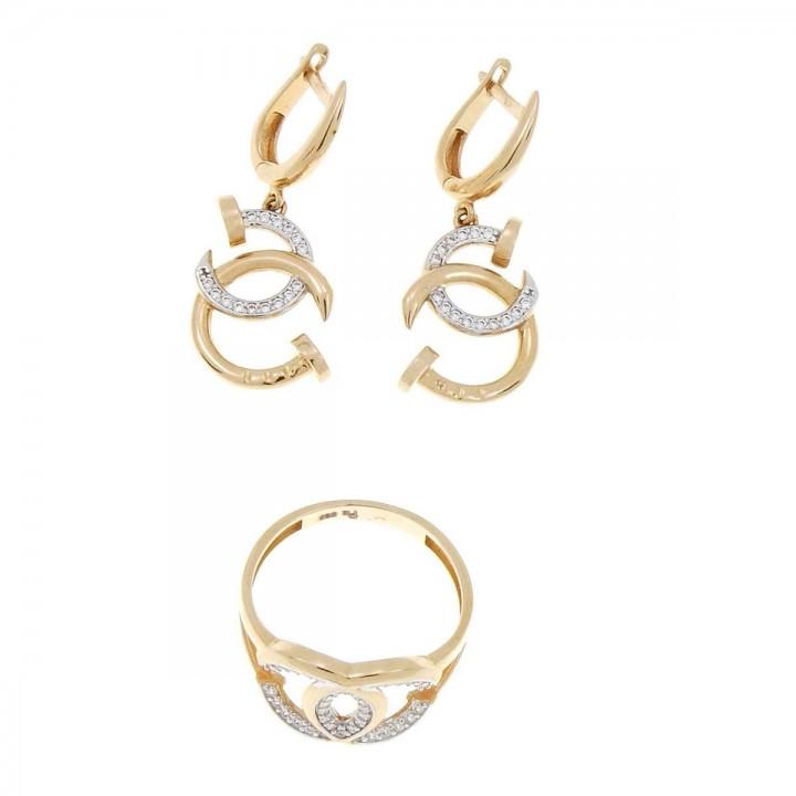Набор для женщины - кольцо и серьги, красное золото c цирконием