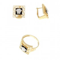Set for women - Ring and earrings, red and white gold