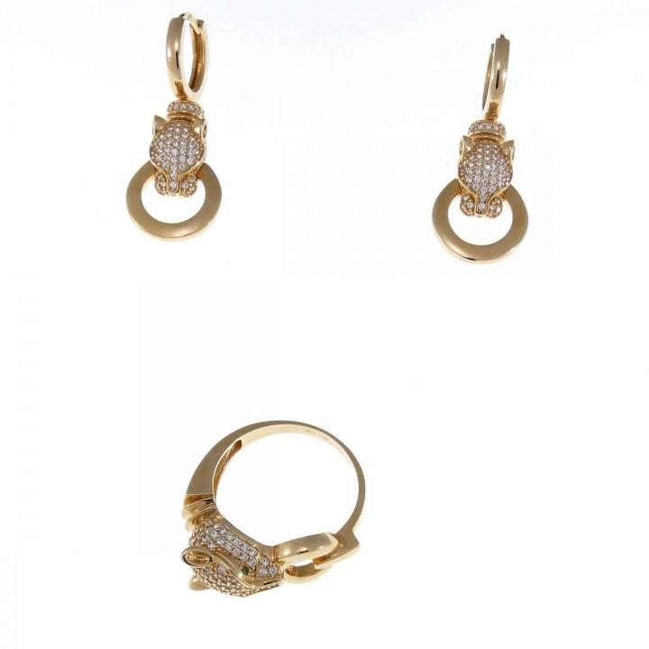 סט לאישה - טבעת ועגילים, ראש פנתר, זהב אדום וזירקוניום