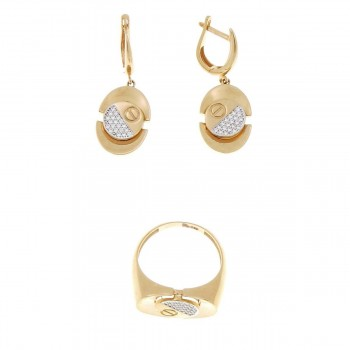 Set for a woman - ring and earrings, red gold, white zirconium