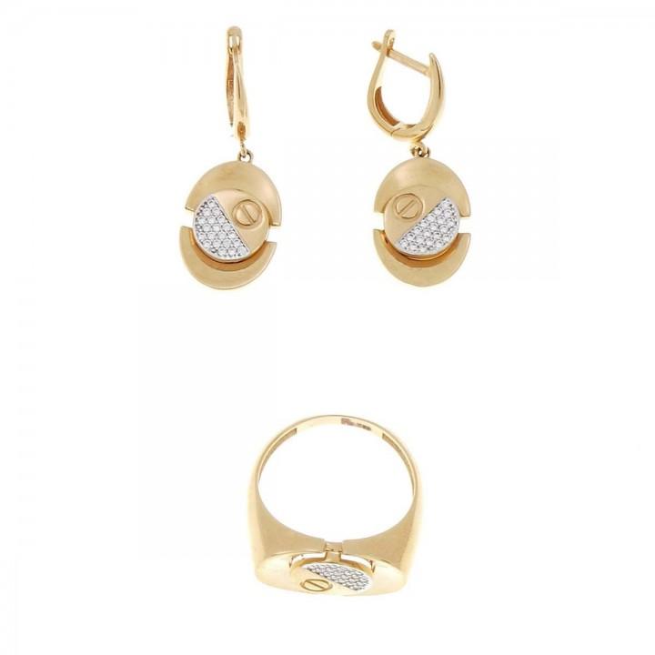 סט לאישה - טבעת ועגילים, זהב אדום, זירקוניום לבן