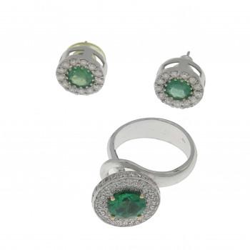 Набор для женщины - кольцо и серьги, белое золото с бриллиантами и изумрудами