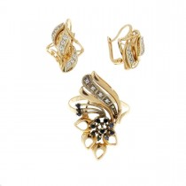Set for a woman - ring and earrings, red gold, zirconium