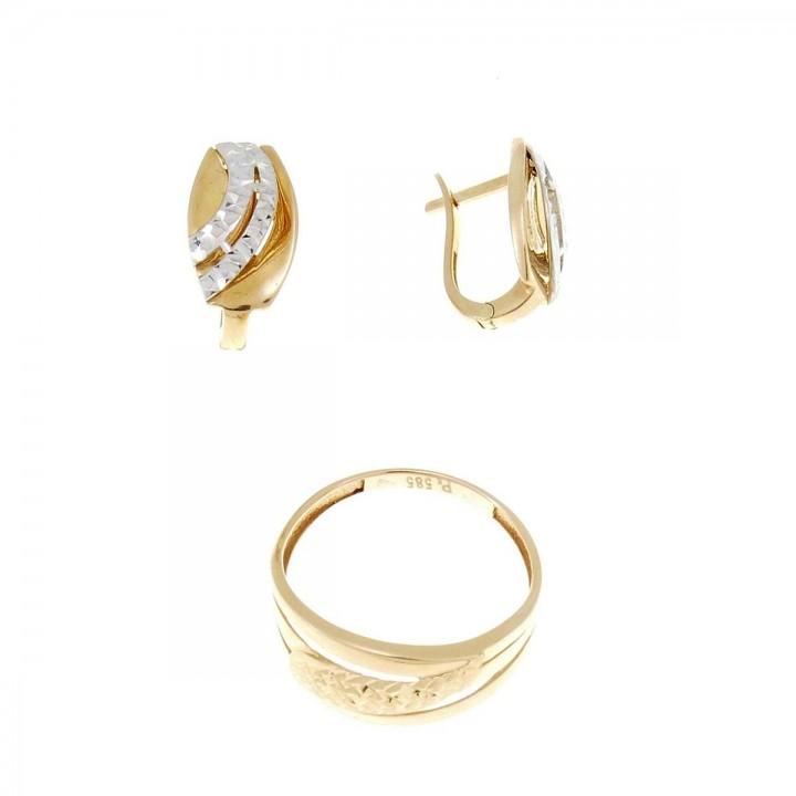 Набор для женщины - кольцо и серьги, красное и белое золото