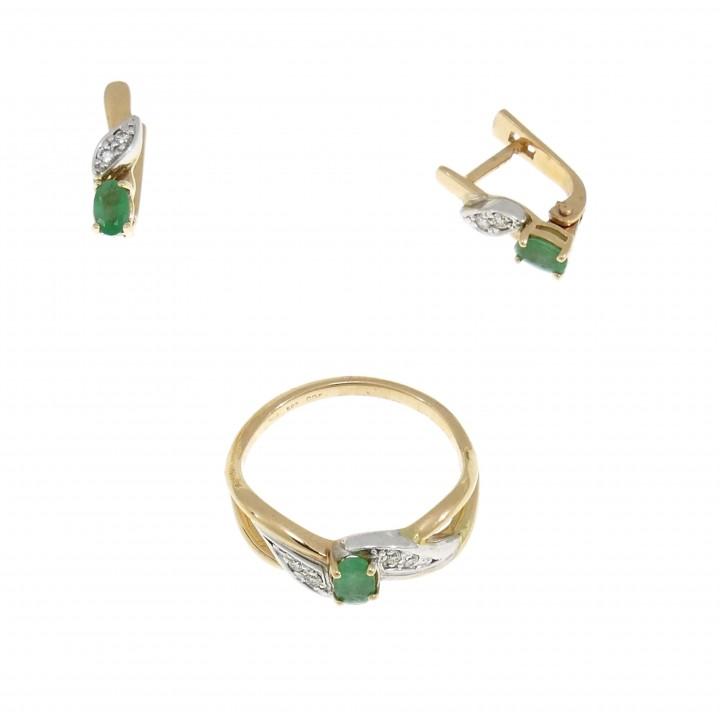 סט לאישה - טבעת ועגילים, זהב אדום 14 קראט, יהלומים ואבני ברקת
