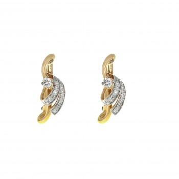 Набор для женщины - кольцо и серьги, красное золото 14 карат с бриллиантами
