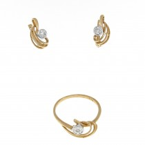 Set for women - ring and earrings, 14K red gold with diamonds